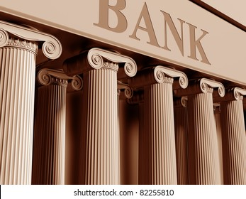 Illustration of a traditional bank with classic columns