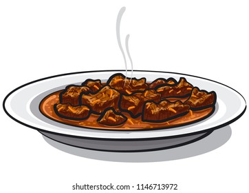 illustration of traditional goulash meat dish in plate