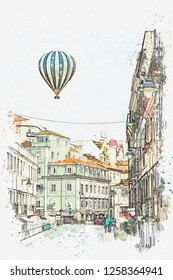 illustration Traditional street with houses and road in Lisbon in Portugal. Hot air balloon flies in the sky.