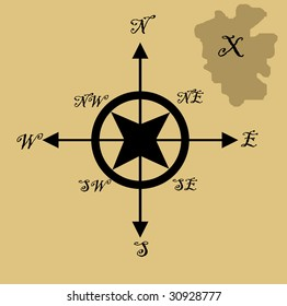 Illustration of treasure map with x marking spot and nautical compass, isolated on brown background.