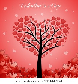 illustration of a tree in the shape of a heart for Valentine's Day