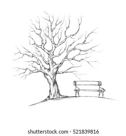 Illustration of a tree without leaves with romantic bench
