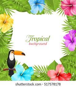 Illustration Tropical Background with Toucan Bird, Colorful Hibiscus Flowers Blossom and Green Leaves -