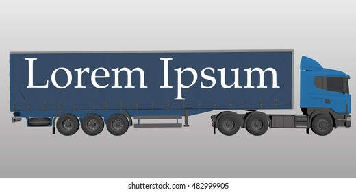 Illustration of a truck. 3D. Fura with a place to insert advertising or company logo for transportation.