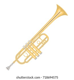 illustration of a trumpet  on white background. Musical instruments topic.