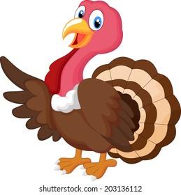 Illustration of turkey cartoon waving