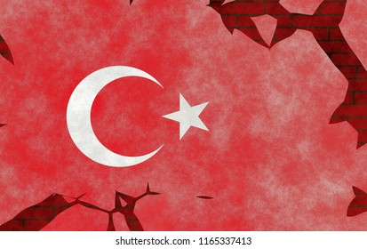 Illustration of a Turkish Flag, imitation of a painting on the old wall with cracks