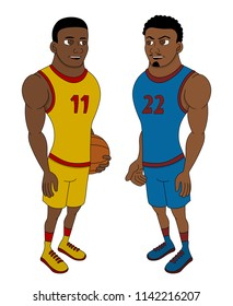 Illustration of two African American basketball players, isolated on a white background