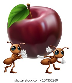 An illustration of two ant characters carrying a big apple. A conceptual illustration for teamwork or helping each other.
