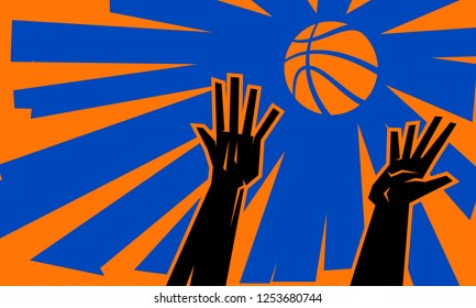 Illustration of two basketball players' hands reaching for a basketball
