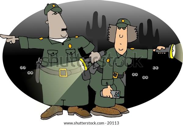 Illustration of two border patrol officers.