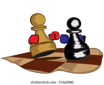 illustration of two boxing pawns - raster version