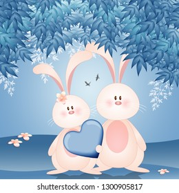illustration of two bunnies with heart in Valentine's Day