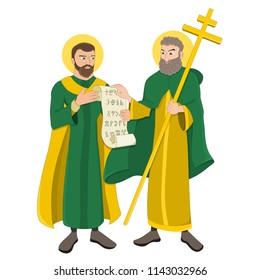 Illustration of two Byzantium brothers Cyril and Methodius, Christian saints who created the Glagolitic alphabet, isolated on a white background