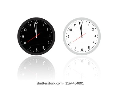 Illustration of Two Clocks Black and White with red second arm show almost midnight time isolated on white background with clipping paths.