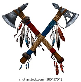 illustration two crossed tomahawks with feathers and beads. Indian national weapon. Native American ax.Weapon decorated with feathers of wild birds, precious stones, beads, cloth and leather straps
