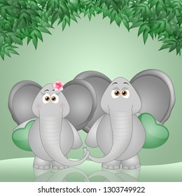 an illustration of two elephants with hearts in Valentine Day