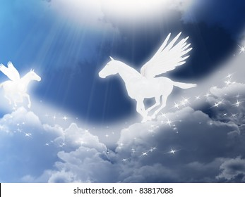 Illustration with two flying pegasus