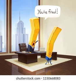 """Illustration of two fries .  A boss fired an employee by the fully quote """"you're fried"""". A funny illustration of potato fries with an office scene."""