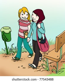 Illustration of a two girls who walk in a park. Digital colors