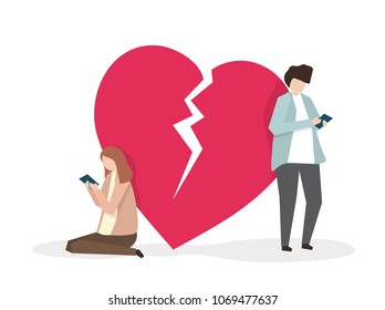 Illustration of two heartbroken people