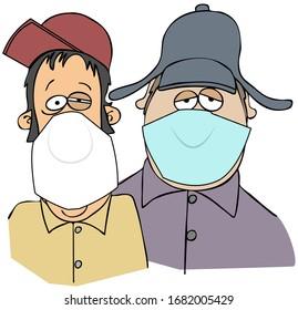 Illustration of two hillbilly men wearing surgical face masks.
