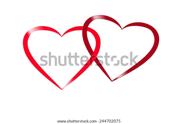 illustration of two intertwined red hearts with glamour effect, design for valentine and wedding greeting card,
