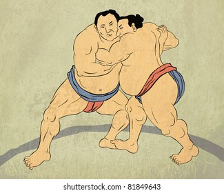 illustration of a two Japanese sumo wrestler wrestling isolated done in Japanese wood block print style