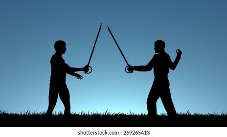 Illustration of two men sword fighting
