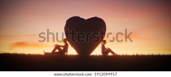 Illustration of two people in love on a beautiful sunset sky background. Love concept, 3d render