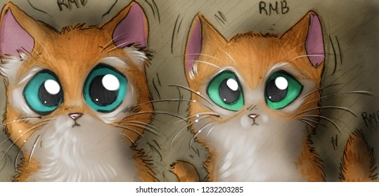Illustration of two red kittens surprised because everything around the is rumbling