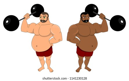 Illustration of two strong fat muscular men holding big black barbells, isolated on a white background