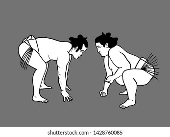 illustration of two sumo wrestler fighting, fat sumo fighters, funny image, funny print design