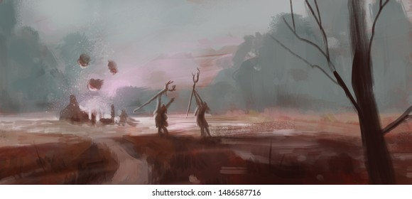 Illustration of two swamp witches performing a magic ritual in a secluded area - digital fantasy painting