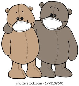 Illustration of two Teddy Bear friends wearing face masks.