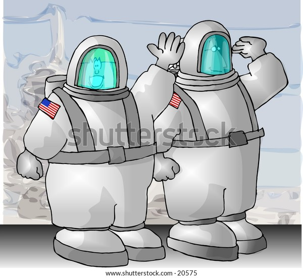 Illustration of two US Astronauts in spacesuits.