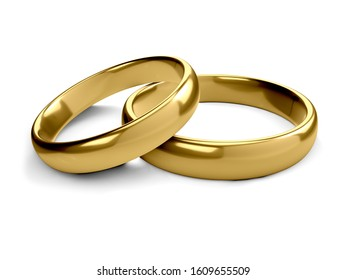 Illustration of two wedding gold rings lie on each other. 3d rendering