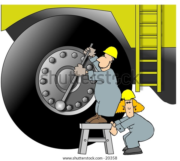 Illustration of two workers tightening the lug nuts on a giant earthmover.