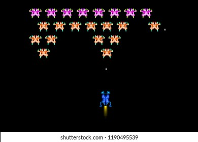 Illustration of a typical 80s pixel space arcade game