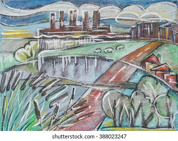 illustration of typical Holland landscape by oil pastel, ink, acrylic pen