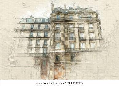 Illustration of Typical Parisian building façades