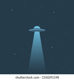 illustration. UFO in the sky with the stars. An alien spaceship with a beam of light. The icon.