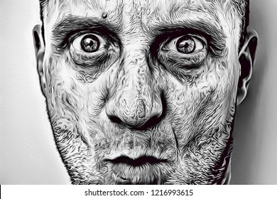 Illustration of ugly man with craggy face, big mad eyes and big nose