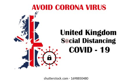 illustration united kingdom social distancing, avoid corona virus / covid 19.