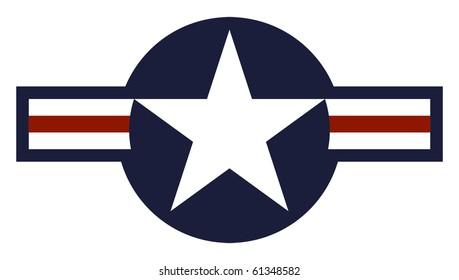 Illustration of United States of America Air Force roundel marking, isolated on white background.