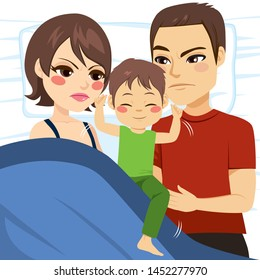 Illustration of upset parents unable to sleep because son is in bed moving and annoying