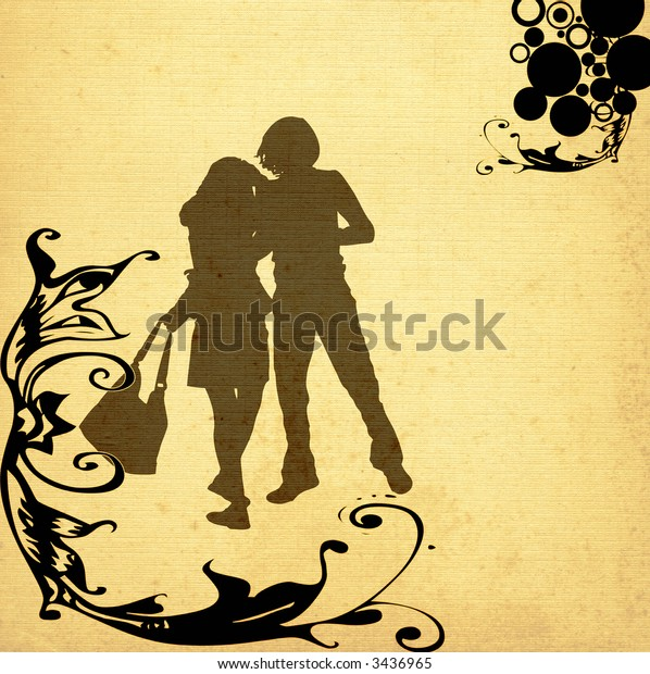 illustration of an urban scene with couple silhouettes