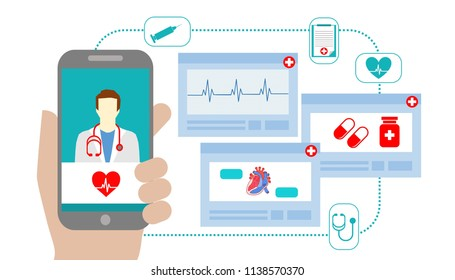 Illustration of user video calling a doctor via healthcare application on a smartphone and professional medical team: protected healthcare information (PHI) consultation and telemedicine concept