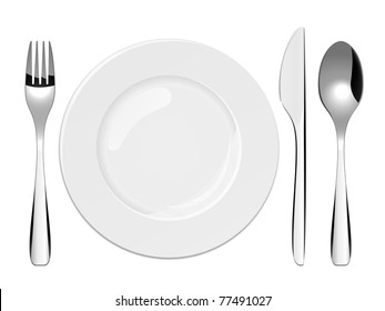 Illustration of utensils and porcelain plate