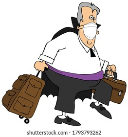 Illustration of a vampire wearing a face mask and pulling on a rolling suitcase.